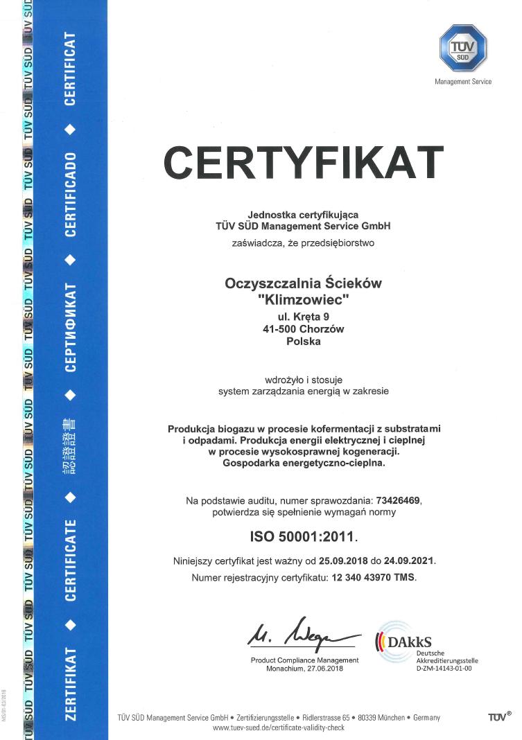 Certyfikat ISO 50001 - zdjęcie niedostępne dla niewidzących