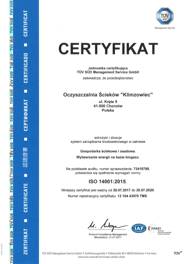 Certyfikat ISO 14001:2015 - zdjęcie niedostępne dla niewidzących