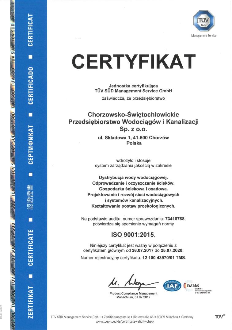 Certyfikat ISO 9001:2015 - zdjęcie niedostępne dla niewidzących