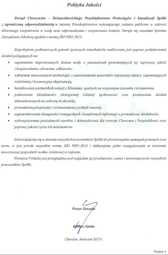 Polityka jakości - wersja 3 - dokument niedostępny dla niewidzących