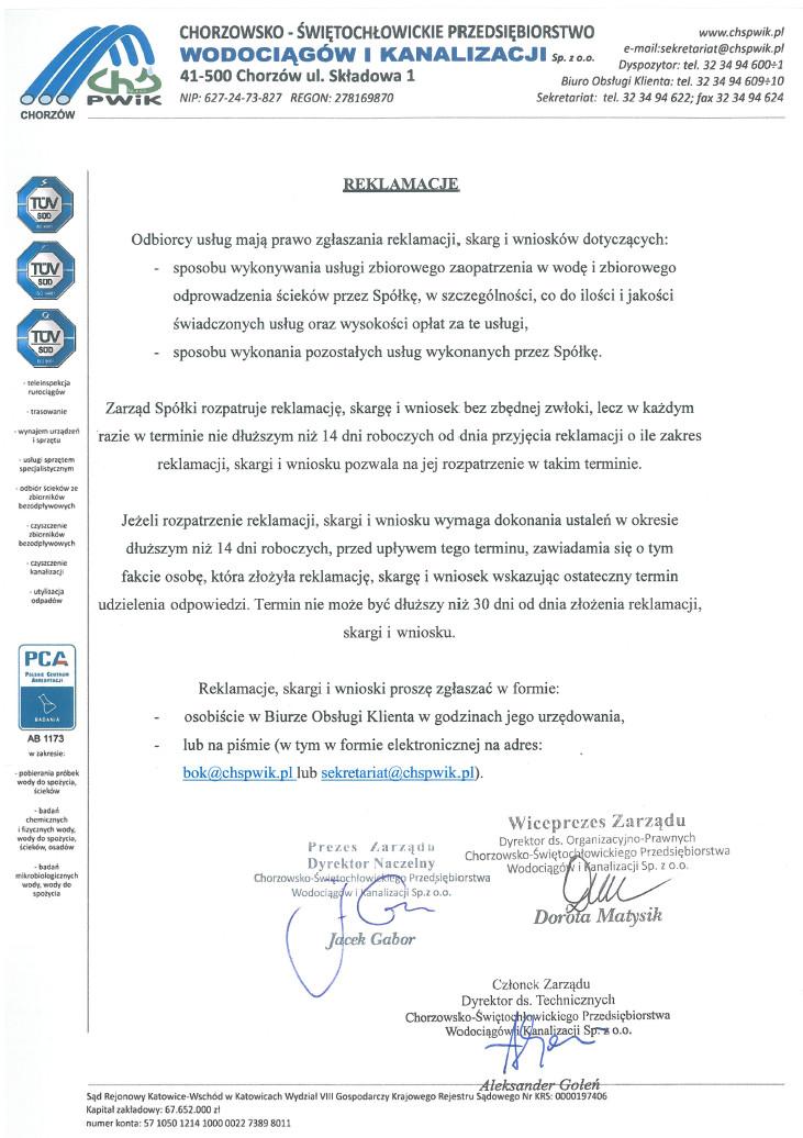 Polityka reklamacji - dokument niedostępny dla niedowidzących